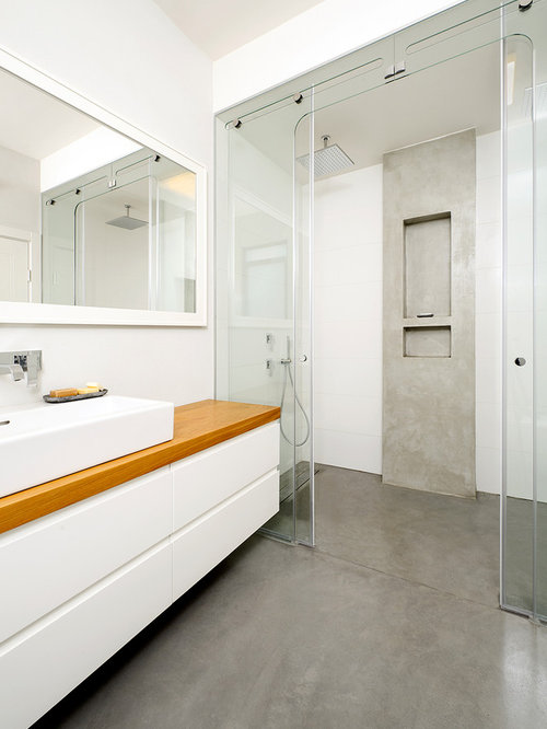 Concrete bathroom floor