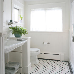 This is an example of a medium sized classic shower room in DC Metro with a walk-in shower, a one-piece toilet, white tiles, white walls, mosaic tile flooring, a pedestal sink, stone slabs, a shower curtain, multi-coloured floors and open cabinets.