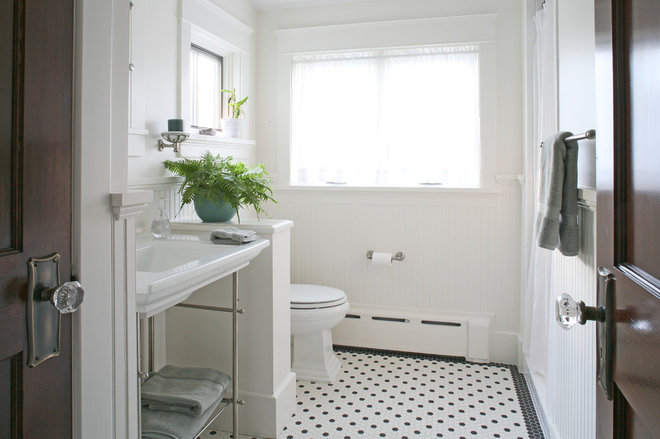 Bathrooms Awash In Black And White Tile