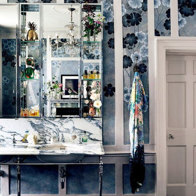 Inspiration for a large shabby-chic style kids' freestanding bathtub remodel in London with a wall-mount sink