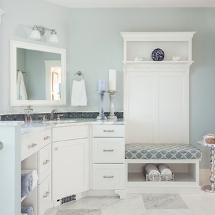 Inspiration For A Beach Style Master Mosaic Tile And Gray Bathroom Remodel In Boston With