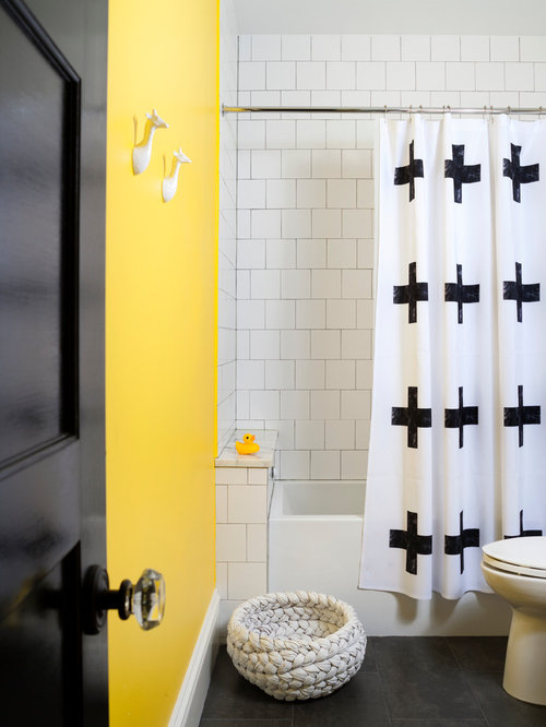 Bathroom with Concrete Worktops and Yellow Walls Ideas, Designs ...