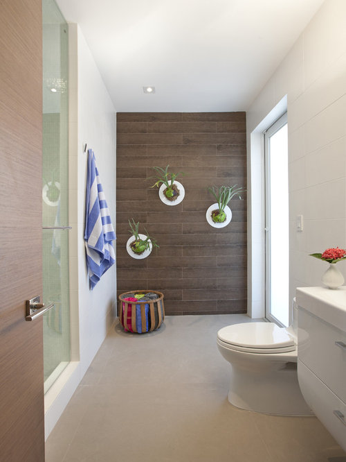 Minimalist Brown Tile Alcove Shower Photo In Miami With White Cabinets And  A One Piece Part 67