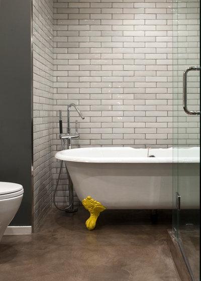 Industrial Bathroom by Margot Hartford Photography