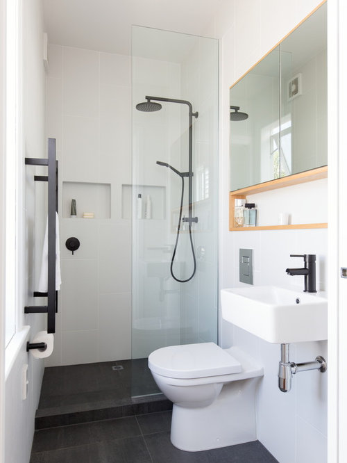 Example Of A Small Eclectic Black And White Tile And Porcelain Tile  Porcelain Floor Doorless Shower