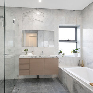This Is An Example Of A Contemporary Master Bathroom In Sydney With Drop