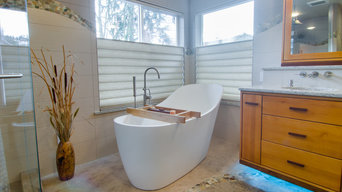 A warm inviting masterbath that is your own spa to relax in.