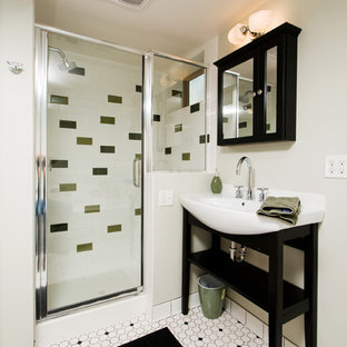 Inspiration for a contemporary subway tile bathroom remodel in Denver