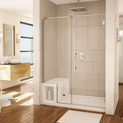 Alcove shower - mid-sized transitional master alcove shower idea in Cleveland with medium tone wood cabinets and a vessel sink
