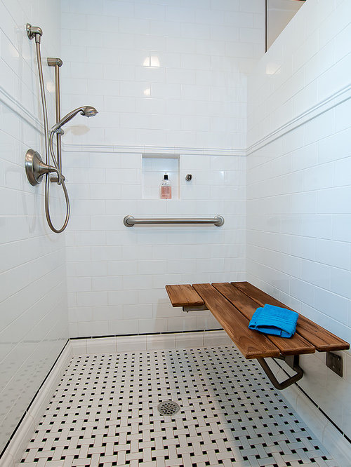 Bathroom Traditional White Tile And Subway Idea In Houston