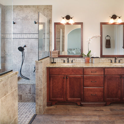 inspiration for a midsized timeless master walkin shower remodel in denver with