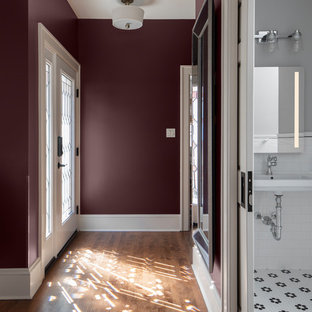Example of a mid-sized classic 3/4 white tile and porcelain tile mosaic tile floor and white floor bathroom design in Milwaukee with a two-piece toilet, gray walls, an integrated sink and white countertops