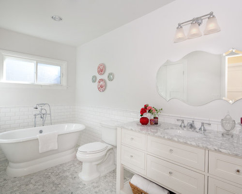 Example Of A Mid Sized Classic 3/4 White Tile And Subway Tile Porcelain