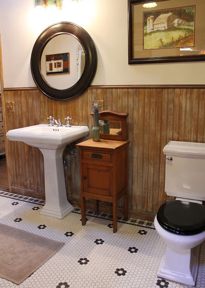 Black Rustic Bathroom Vanity: White Toilet, Black Lid: Trending In A Bathroom Near You