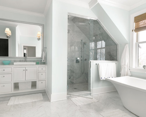 inspiration for a large transitional master bathroom remodel in burlington with recessed panel cabinets. beautiful ideas. Home Design Ideas