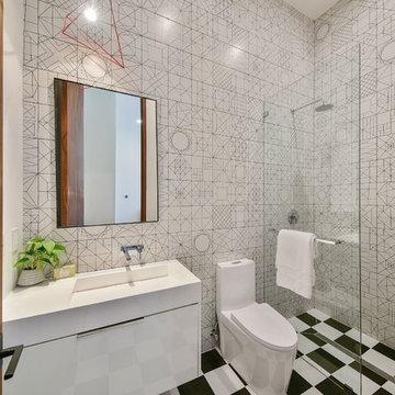 "ADM Bathroom Rectangular Wall Mounted Sink, Glossy White, 39"" - DW-110 (39 x 20)"
