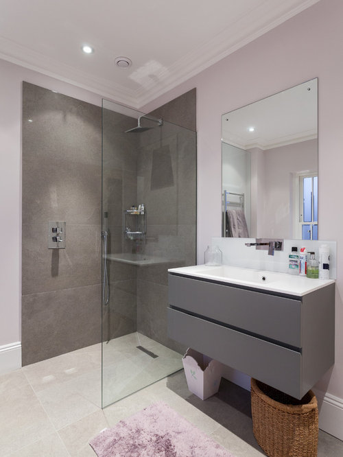 Bathroom design ideas renovations photos with grey for Grey and purple bathroom ideas