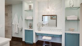 After: Wood like porcelain tile built in make up seating.