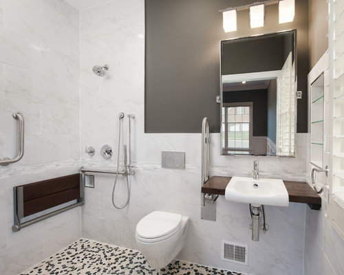 5x8 Walk In Shower Design Ideas Remodels Photos With Pebble Tile Floors