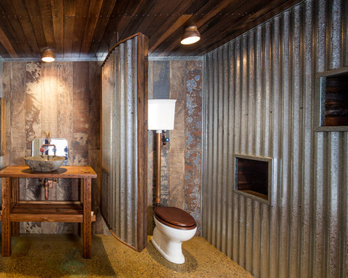 Photo of a mid sized industrial bathroom in Canberra   Queanbeyan with open  cabinets. Industrial Home Design Ideas   Photos