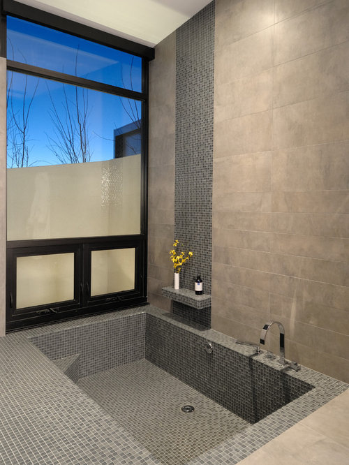 Inspiration For A Contemporary Gray Tile And Mosaic Tile Bathroom Remodel  In Denver