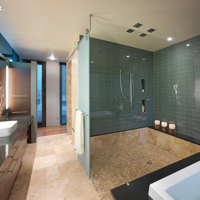 Trendy subway tile bathroom photo in Denver with a vessel sink and gray countertops