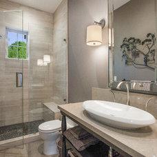 Farmhouse Bathroom by LMK Interiors