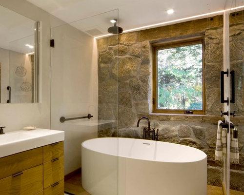 Country Bathroom Design Ideas Renovations Photos With A Shower Bathtub