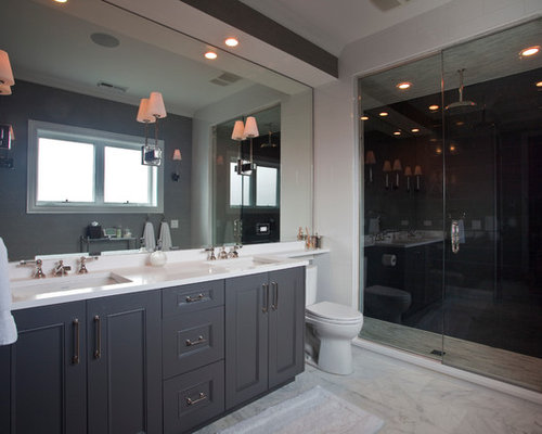 Contemporary White Tile Alcove Shower Idea In Chicago With An Undermount  Sink, Recessed Panel