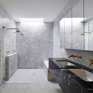 Photo of a contemporary shower room bathroom in Adelaide with a built-in shower, grey tiles, metro tiles, grey walls, a submerged sink, marble worktops, white floors and an open shower.