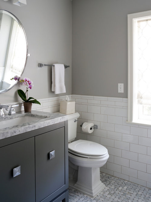 bathroom design ideas renovations photos with grey cabinets and a