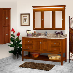 """Alki Collection - Take a quick glimpse at one of our pieces from our Alki Collection. A 60"""" Alki Spa vanity with a 48"""" Tri-view medicine cabinet that features our NEW LED lighting, and an 18"""" X 48"""" cubby. With its neat lines, open bottom shelf and modern design, the Alki vanity is guaranteed add style and comfort to any home."""