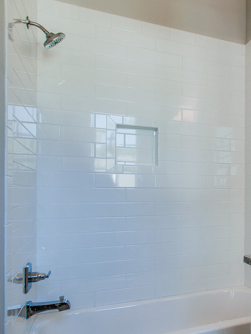 Inspiration For A Mid Sized Farmhouse White Tile And Subway Tile Linoleum  Floor Bathroom Remodel