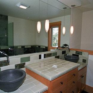 75 Most Popular Slate Floor Bathroom With Tile Countertops