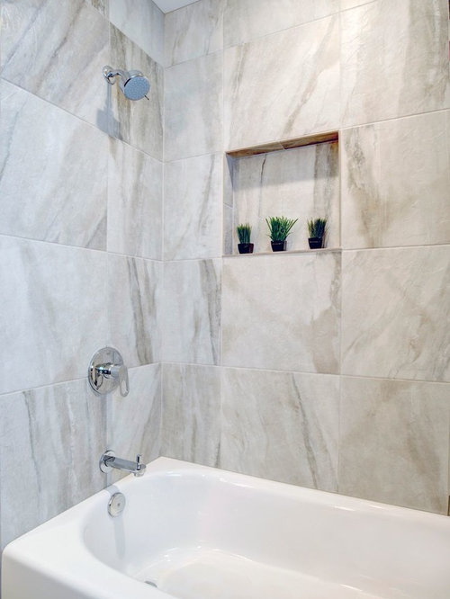 Popular   Renovations Amp Photos With A Pedestal Sink And Multicoloured Tiles
