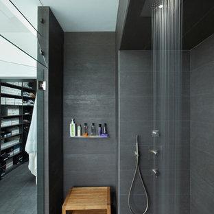 Свежая идея для дизайна: ванная комната в стиле модернизм с душем без бортиков и серой плиткой - отличное фото интерьера