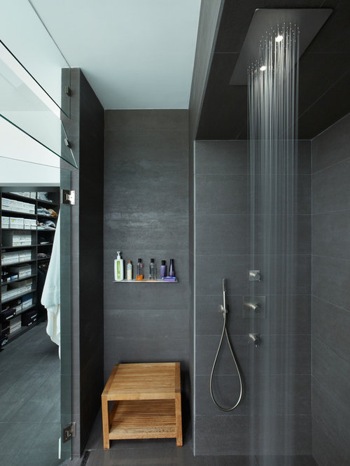 Minimalist Gray Tile Walk In Shower Photo In Los Angeles