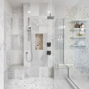 Bathroom - large contemporary master white tile and stone tile marble floor bathroom idea in Seattle