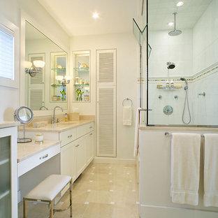 Coastal alcove shower photo in New York