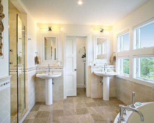 Pocket Door Bathroom Design : Bathroom design ideas remodels photos with a corner tub