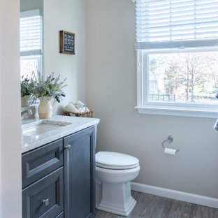 Mid-sized transitional 3/4 white tile and subway tile gray floor and wood-look tile floor bathroom photo in Philadelphia with shaker cabinets, gray cabinets, a two-piece toilet, gray walls, an undermount sink, quartz countertops and gray countertops