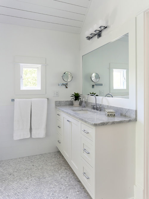 Example Of A Transitional Mosaic Tile And Gray Floor Bathroom Design In San