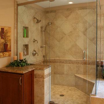 An Earthtone Master Bath and Closet in Lakewood
