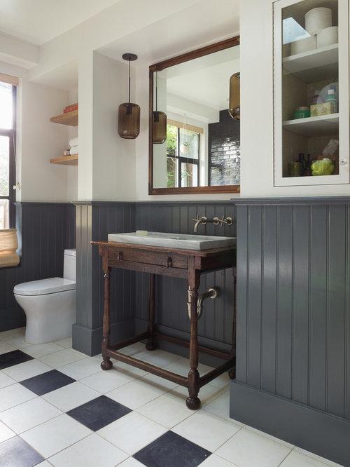 Foto e idee per bagni eclettici con piastrelle nere - Piastrelle bagno nere ...
