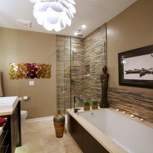 Inspiration For A Large Modern Master Multicolored Tile Beige Floor And  Travertine Floor Bathroom Remodel In