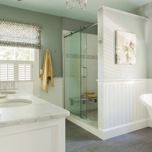 Bathroom Mid Sized Traditional Master Porcelain Floor And Gray Idea In Boston