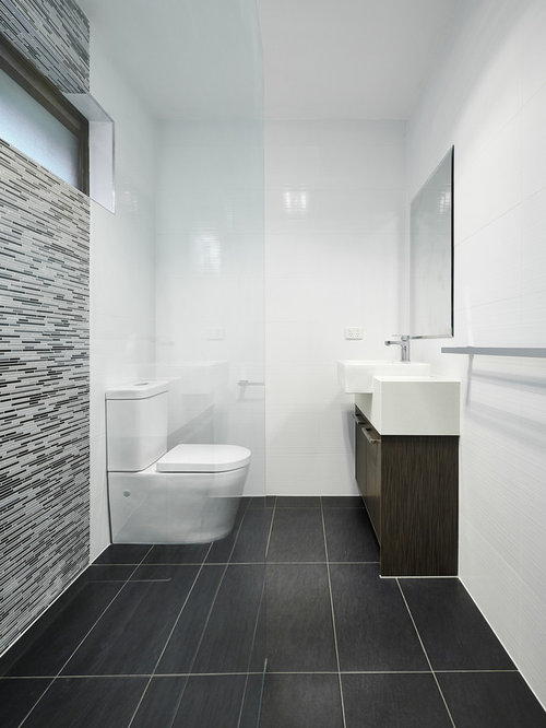 Best modern bathroom design ideas remodel pictures houzz for Black floor white walls bathroom