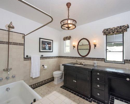 Black and cream bathroom design ideas renovations photos for Black and cream bathroom ideas