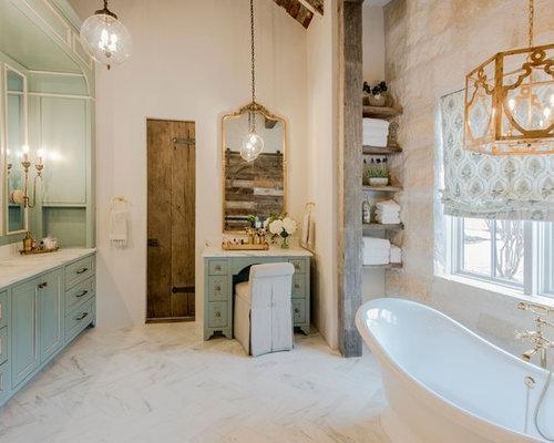 Bagno Beige E Bianco : Stanza da bagno con ante turchesi e pareti beige foto idee