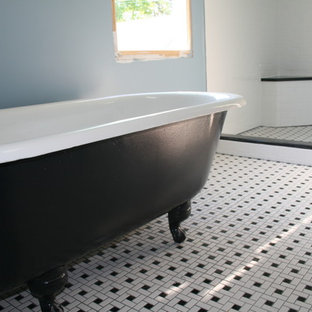 Inspiration for a large timeless white tile and ceramic tile ceramic floor bathroom remodel in DC Metro with blue walls